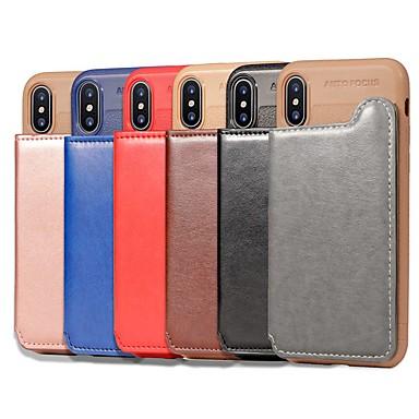 Недорогие Кейсы для iPhone 6-Кейс для Назначение Apple iPhone XS / iPhone XR / iPhone XS Max Кошелек / Бумажник для карт / Защита от удара Кейс на заднюю панель Однотонный Твердый Кожа PU / Настоящая кожа