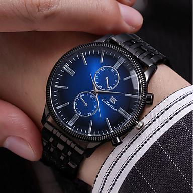 Недорогие Часы на металлическом ремешке-Муж. Часы-браслет Кварцевый Винтаж Защита от влаги Нержавеющая сталь Черный Аналоговый - Черный Красный Синий