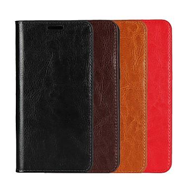 Недорогие Чехлы и кейсы для Xiaomi-Кейс для Назначение Xiaomi Xiaomi Redmi Note 6 / Xiaomi Pocophone F1 / Redmi 6A Кошелек / Бумажник для карт / со стендом Чехол Однотонный Твердый Настоящая кожа