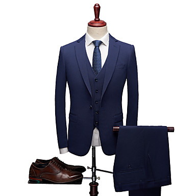 cheap Tuxedos & Suits-Deep Blue Solid Colored Tailored Fit Polyester Suit - Notch Single Breasted One-button / Suits