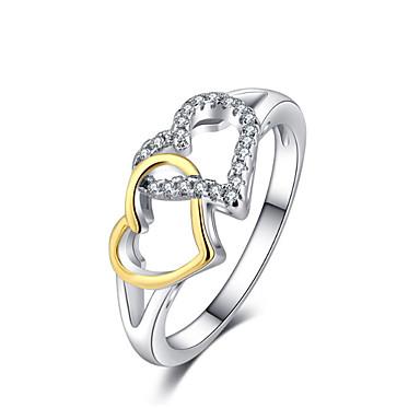 olcso Karikagyűrűk-Női Band Ring Kocka cirkónia 1db Fehér Réz Arannyal bevont Stílusos Európai Romantikus Esküvő Ajándék Ékszerek Szív Menő