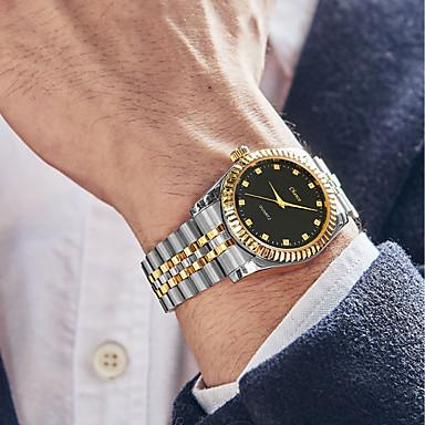 Недорогие Часы на металлическом ремешке-Муж. Нарядные часы Кварцевый Винтаж Защита от влаги Аналоговый Белый Черный Золотой / Нержавеющая сталь / Крупный циферблат