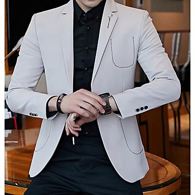 hesapli Erkek Blazerları ve Takım Elbiseleri-Erkek Blazer Çentik Yaka Polyester Beyaz / Siyah / Turuncu / İnce
