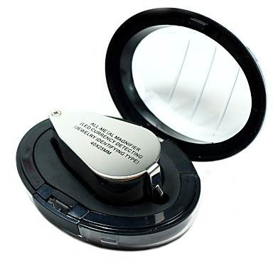 cheap Hand Tools-9890 Portable Mini 40 x Loupe Magnifier Magnifying Triplet Jewelers Eye Glass Jewelry Diamond with Ultraviolet Light LED Lamp