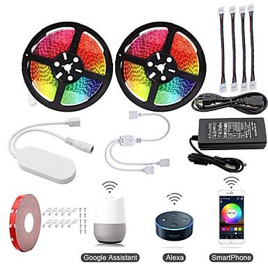 olcso Szalagfény készlet-KWB 2x5M Világítás készletek / RGB szalagfények / Intelligens Lights 600 LED SMD5050 1 12V 6A adapter / 1A rögzítő tartóelemet állítsa be / 1 - 2 Kábelcsatlakozó RGB Vízálló / APP vezérlés / Cuttable