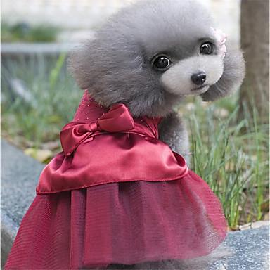 povoljno Odjeća za psa i dodaci-Psi Haljine Odjeća za psa Crvena Pink Žutomrk Kostim Mješavina poliester / pamuk Crystal / Rhinestone Sweet Style Zabava M L XL
