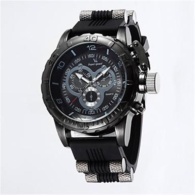رخيصةأون ساعات الرجال-V6 رجالي ساعة رياضية كوارتز مطاط أسود / أزرق / رمادي 50 m ساعة كاجوال مماثل عتيق كاجوال - أسود رمادي أزرق