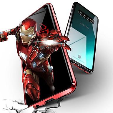 رخيصةأون حافظات / جرابات هواتف جالكسي S-غطاء من أجل Samsung Galaxy Galaxy S10 / Galaxy S10 Plus / Galaxy S10 E ضد الصدمات غطاء كامل للجسم لون سادة قاسي زجاج مقوى / معدن