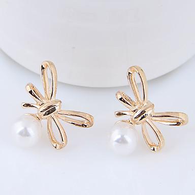 1 Paar Schleifen Ohrringe mit Perlen Hänger Ohrstecker Viele Farben  Earrings
