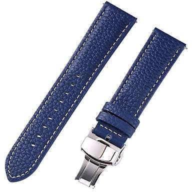 رخيصةأون إكسسوارات الساعات-جلد أصلي / جلد / شعر العجل حزام حزام إلى أزرق 17CM / 6.69 بوصة / 18cm / 7 Inches / 19cm / 7.48 Inches 1cm / 0.39 Inches / 1.2cm / 0.47 Inches / 1.3cm / 0.5 Inches