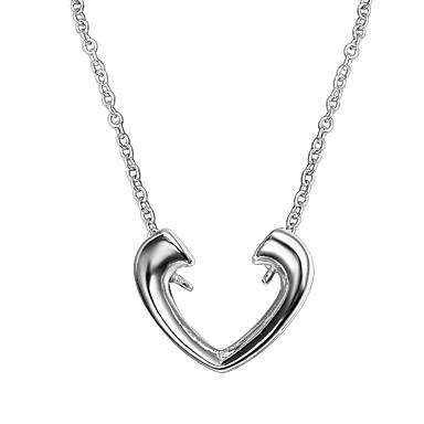 c432fed67a0f Mujer Clásico Collares con colgantes Collares de cadena Collar Plateado  Corazón Simple De moda Romántico Moda Bonito Encantador Boda Plata 46 cm ...