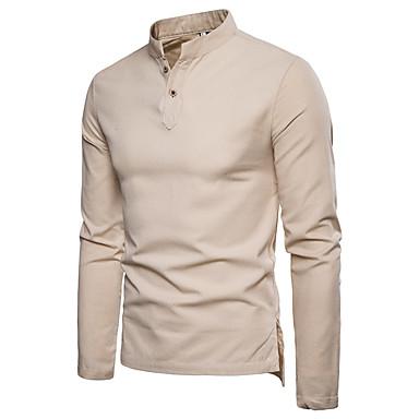 رخيصةأون قمصان رجالي-رجالي قياس كبير - كتان قميص, لون سادة ياقة مع زر سفلي