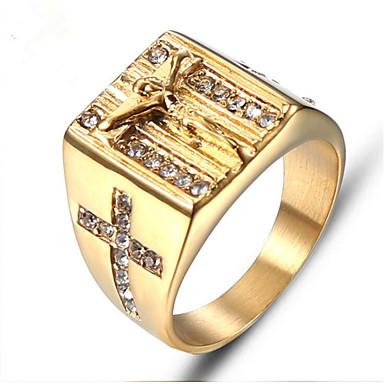 povoljno Prstenje-Muškarci Prsten Pečatni prsten 1pc Zlato Titanium Steel Krug Moda Hip Hop Dar Dnevno Jewelry Retro Graviranog Cool