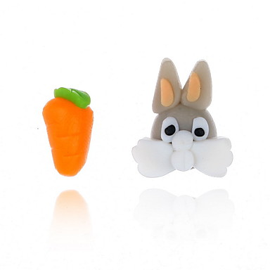 رخيصةأون أقراط-نسائي حلقات أقراط غير متطابقة Rabbit حيوان جزرة لطيف للأطفال الأقراط مجوهرات برتقالي من أجل مواعدة 1 زوج
