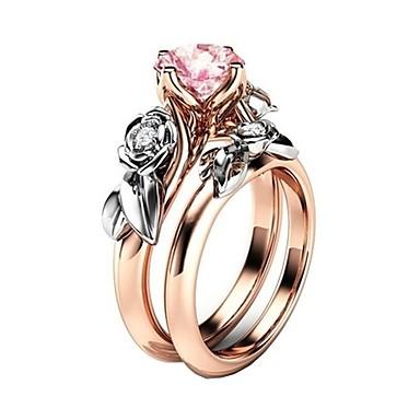 رخيصةأون خواتم-نسائي خاتم مكعب زركونيا 2pcs زهري سبيكة هدية مناسب للبس اليومي مجوهرات وردة محبوب