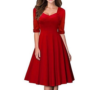 cheap Vintage Dresses-Women's Red Black Dress Elegant A Line Solid Colored Square Neck S M