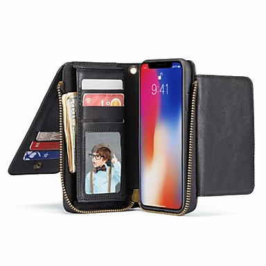 Недорогие Кейсы для iPhone-Кейс для Назначение Apple iPhone XS / iPhone XR / iPhone XS Max Кошелек / Бумажник для карт / со стендом Чехол Однотонный Твердый Настоящая кожа