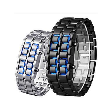 Недорогие Часы на металлическом ремешке-Муж. электронные часы Цифровой На открытом воздухе Защита от влаги Цифровой Черный Красный Синий / Нержавеющая сталь / ЖК экран