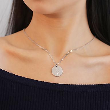 olcso Divat nyaklánc-Női Nyaklánc medálok Vésett Egyszerű Koreai Modern Króm Arany Ezüst 52 cm Nyakláncok Ékszerek 1db Kompatibilitás fokozatokra osztás Ajándék Randi Utca Fesztivál