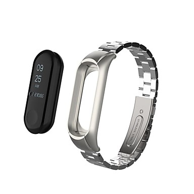 رخيصةأون أساور ساعات هواتف Xiaomi-حزام إلى Mi Band 3 Xiaomi عصابة الرياضة ستانلس ستيل شريط المعصم