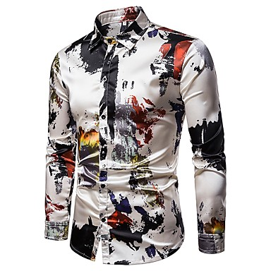 hesapli Erkek Gömlekleri-Erkek Klasik Yaka Gömlek Desen, Soyut Sokak Şıklığı Parti Gri / Uzun Kollu