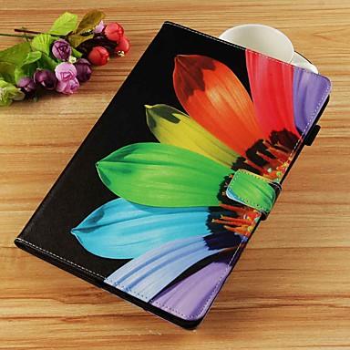 voordelige Samsung Tab-serie hoesjes / covers-hoesje Voor Samsung Galaxy Tab S4 10.5 (2018) / Tab A2 10.5(2018) T595 T590 / Tab E 9.6 Portemonnee / Kaarthouder / met standaard Volledig hoesje Bloem Hard PU-nahka