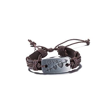 voordelige Heren Armband-Heren Dames loom Bracelet Gevlochten Vintage Leder Armband sieraden Bruin Voor Dagelijks Straat