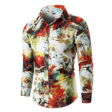 رخيصةأون قمصان رجالي-رجالي مقاس أوروبي / أمريكي قميص, ورد / كم طويل