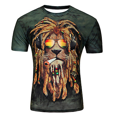 hesapli Erkek modası-Erkek Yuvarlak Yaka Tişört Desen, Hayvan / Karton Büyük Bedenler Mor