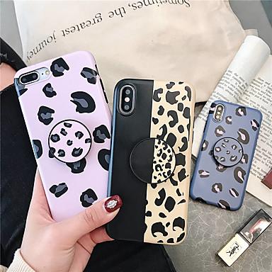 Недорогие Кейсы для iPhone 6-Кейс для Назначение Apple iPhone XS / iPhone XR / iPhone XS Max со стендом / Ультратонкий Кейс на заднюю панель Леопардовый принт Мягкий ТПУ