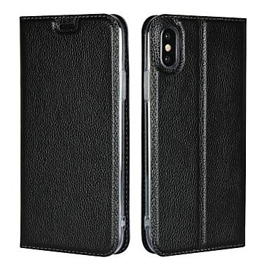 Недорогие Кейсы для iPhone 6 Plus-Кейс для Назначение Apple iPhone XS / iPhone XR / iPhone XS Max Бумажник для карт / со стендом Чехол Однотонный Твердый Настоящая кожа