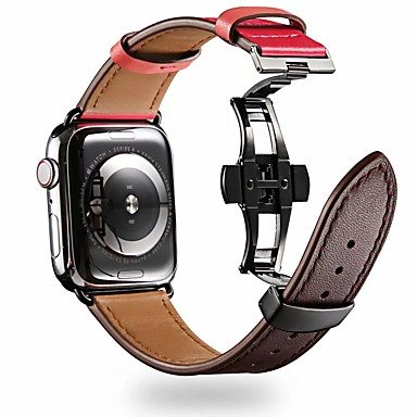 Недорогие Ремешки для Apple Watch-Ремешок для часов для Серия Apple Watch 5/4/3/2/1 Apple Бабочка Пряжка Натуральная кожа Повязка на запястье