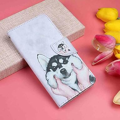 Недорогие Чехлы и кейсы для Motorola-Кейс для Назначение Motorola MOTO G6 / Moto G6 Plus Кошелек / Бумажник для карт / со стендом Чехол С собакой Твердый Кожа PU
