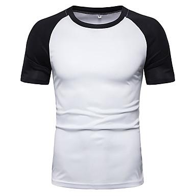 رخيصةأون قمصان رجالي-رجالي قطن تيشرت, لون سادة / ألوان متناوبة رقبة دائرية