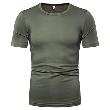 رخيصةأون قمصان رجالي-رجالي قطن تيشرت, لون سادة رقبة دائرية
