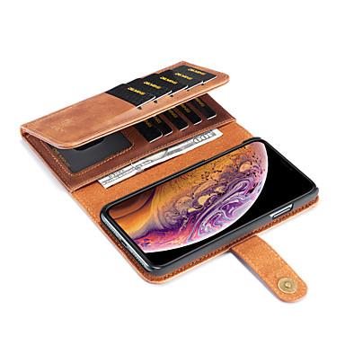Недорогие Кейсы для iPhone X-Кейс для Назначение Apple iPhone XS / iPhone XR / iPhone XS Max Кошелек / Бумажник для карт / со стендом Чехол Однотонный Твердый Кожа PU