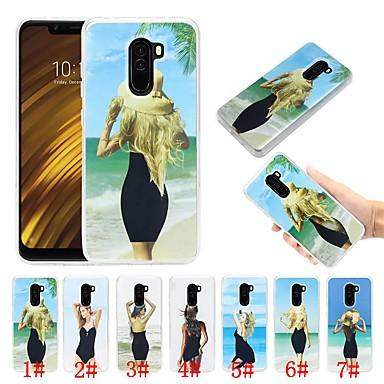 Недорогие Чехлы и кейсы для Xiaomi-Кейс для Назначение Xiaomi Xiaomi Pocophone F1 Защита от удара / Движущаяся жидкость / Ультратонкий Кейс на заднюю панель Соблазнительная девушка Мягкий ТПУ