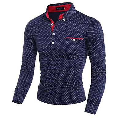 povoljno Muške polo majice-Polo Muškarci Pamuk Na točkice Kragna košulje Slim, Print Obala / Dugih rukava