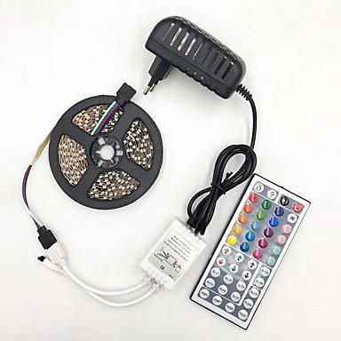 رخيصةأون شرائط ضوء مرنة LED-brelong 5050 10mm dc12v 5m 300led ضوء الشريط مع 44 مفتاح التحكم عن بعد الغراء ماء rgb مع امدادات الطاقة