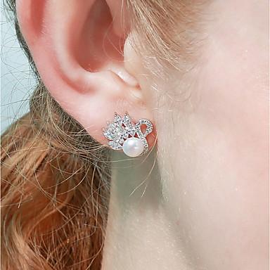 olcso Beszúrós fülbevalók-Női Édesvízi gyöngy Beszúrós fülbevalók Hattyú Szerencsés Édes Divat Gyöngy S925 ezüst Fülbevaló Ékszerek Fehér Kompatibilitás Ajándék Randi 1 pár