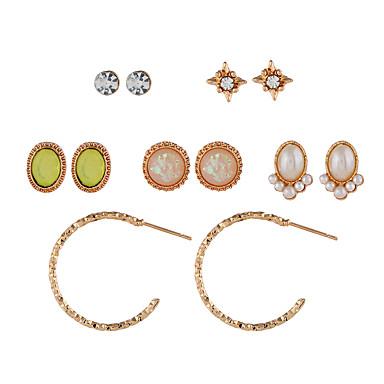 d2347e4abd9d Mujer Con monograma Pendientes Set Resina Diamante Sintético Aretes Vintage  Europeo Moda Joyas Dorado Para Diario 6 pares 7146969 2019 – €4.99