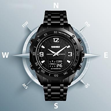 Недорогие Часы на металлическом ремешке-SKMEI Муж. Спортивные часы Нарядные часы Цифровой На каждый день Защита от влаги Аналого-цифровые Черный Серебряный / Нержавеющая сталь / Календарь / Секундомер / Термометр / тахометр