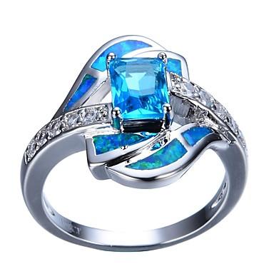 رخيصةأون خواتم-نسائي خاتم خطوبة 1PC أزرق فاتح حجر الراين سبيكة هدية مناسب للبس اليومي مجوهرات