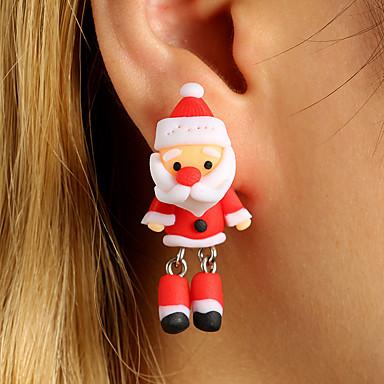 نسائي أقراط الزر أقراط قطرة حلقات عيد الميلاد المجيد بدل سانتا لطيف للأطفال الأقراط مجوهرات أحمر من أجل مواعدة 1 زوج