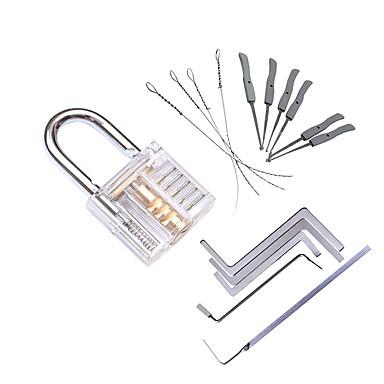 رخيصةأون أدوات اليد-شفافة مرئية بيك الممارسة قفل قفل الممارسة مع مفتاح كسر إزالة هوك كيت النازع مجموعة أداة الأقفال وجع