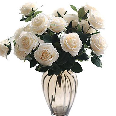 زهور اصطناعية 1 فرع كلاسيكي الزفاف Wedding Flowers الورود الزهور الخالدة أزهار الطاولة