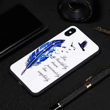 Недорогие Кейсы для iPhone 6-Кейс для Назначение Apple iPhone XS / iPhone XR / iPhone XS Max Матовое / С узором Кейс на заднюю панель Слова / выражения / Перья Мягкий ТПУ
