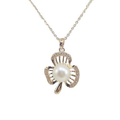 fc20aa5d1ee8 Mujer Blanco Perla Collares con colgantes Collar Collar con perlas Perla  Zirconio Chapado en Plata Forma de Hoja Artístico Diseño Único Clásico  Estilo lindo ...