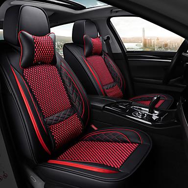 olcso Beltéri autós kiegészítők-5 üléses karikatúra autó üléshuzat, két fejpárnával és két rögzített derékpárnával / pu bőr jég selyem anyagból / légzsák kompatibilitás / állítható és levehető / négy évszak univerzális