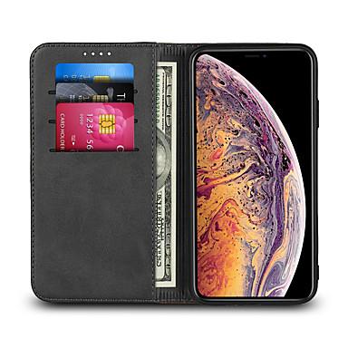 Недорогие Кейсы для iPhone 6 Plus-Кейс для Назначение Apple iPhone XS / iPhone XR / iPhone XS Max Бумажник для карт / со стендом Чехол Однотонный Твердый Кожа PU